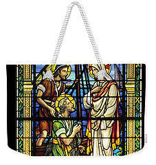 Saints Peter And Andrew With Christ  Weekender Tote Bag by Sally Weigand