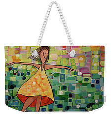 Weekender Tote Bag featuring the painting Spinning by Donna Howard