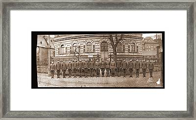 Troops In Front Of Hdqrs. 3rd Corps Framed Print by Fred Schutz Collection