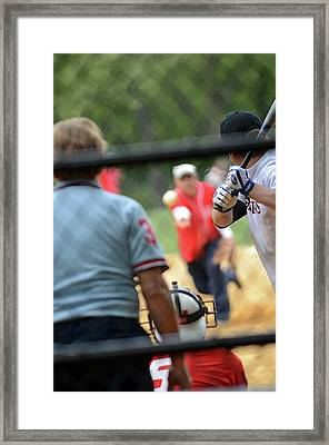 Baseball Match In Central Park Framed Print by Nano Calvo