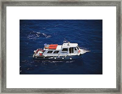 Boat That Carries Tourists From Cruise Framed Print