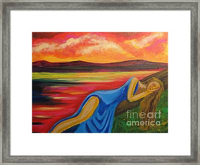 Framed Print featuring the painting Dreaming At Sunrise by Diana Riukas