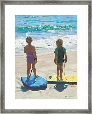 Girls On Boogie Boards Framed Print by Steve Simon