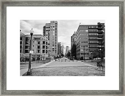 high rise apartment condo blocks in the west end alberni street coal harbour Vancouver BC Canada Framed Print