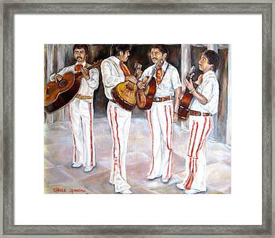 Framed Print featuring the painting Mariachi  Musicians by Carole Spandau