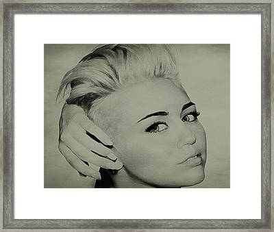 Framed Print featuring the drawing Miley Cyrus  by Brian Reaves