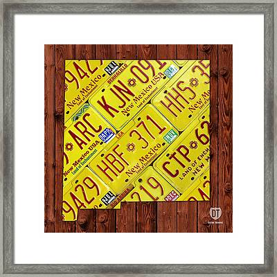 New Mexico License Plate Map Framed Print by Design Turnpike
