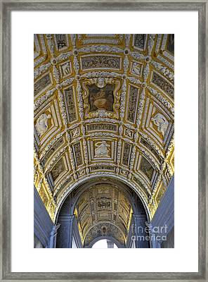 Painted Ceiling Of Staircase In Doges Palace Framed Print