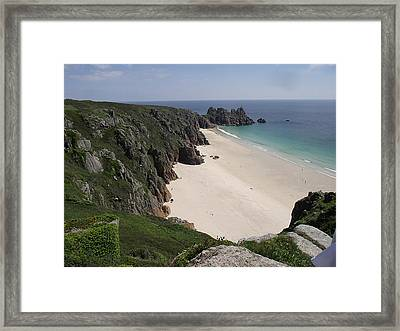 Framed Print featuring the photograph Porthcurno Cove by Jayne Wilson