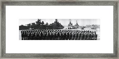 Ships At Anchor & Uss Claxton Crew Framed Print