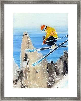 Skiing At Flegere Framed Print by Sara Pendlebury