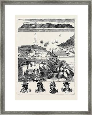 St. Helena 1. View Of The Island From The Sea 2 Framed Print