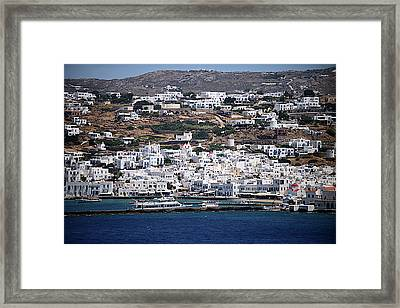 View Of Mykonos From Cruise Ship Framed Print