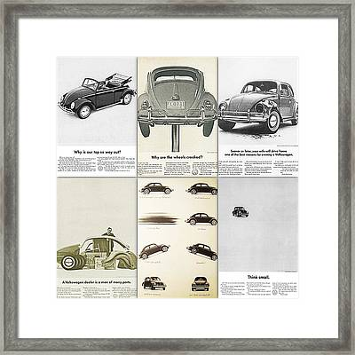 Volkswagen Beetle Collage Framed Print by Georgia Fowler