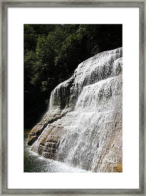 Waterfall At Treman State Park Ny Framed Print by Ted Kinsman