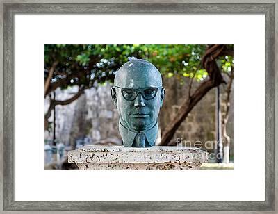 Bust Of Carlos Lleras Restrepo In Cartagena De Indias Colombia Framed Print by Jannis Werner
