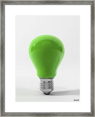Green Ligth Bulb Framed Print