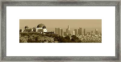 Griffith And Los Angeles Sepia Framed Print by Ricky Barnard