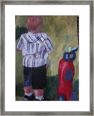 Little Golfer Framed Print by David Poyant