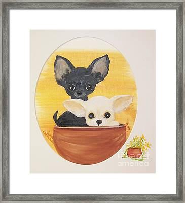 Pups In A Pot Framed Print by Rachel Carmichael