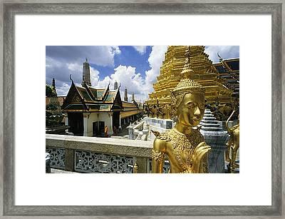 View Of Wat Phra Kaeo, Bangkok��s Most Framed Print by Paul Chesley