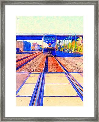 Amtrak Train . Photo Art Framed Print by Wingsdomain Art and Photography