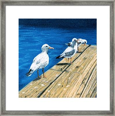 Framed Print featuring the pastel Docked by Jan Amiss