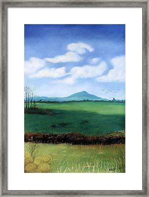 Framed Print featuring the pastel Hermit's Peak by Jan Amiss