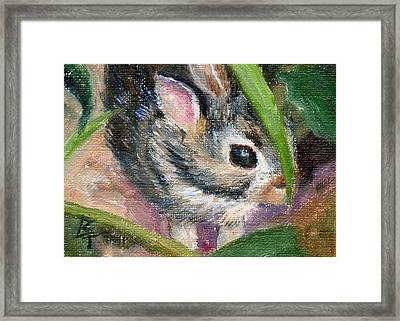 Hiding Aceo Framed Print by Brenda Thour