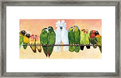 14 Birds On A Stick Framed Print