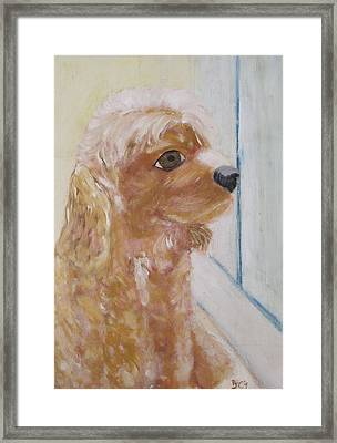 Framed Print featuring the painting Rusty Aka Digger Dog by Patricia Cleasby