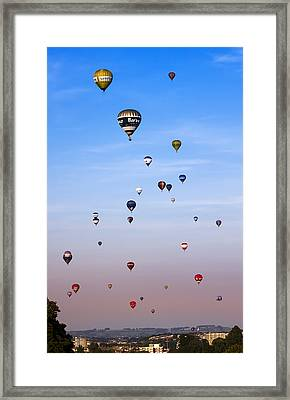 Colorful Balloons On Colorful Sky Framed Print by Angel  Tarantella