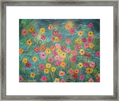 A Field Of Flowers Framed Print by John Keaton