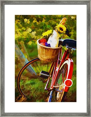 A Loaf Of Bread A Jug Of Wine And A Bike Framed Print by Elaine Plesser