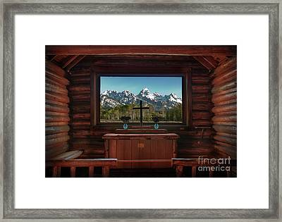A Pew With A View Framed Print by Sandra Bronstein