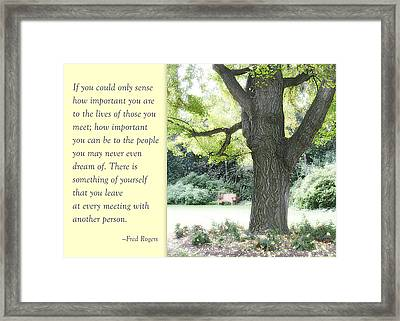 A Quote To Remember Framed Print by Jan Cipolla