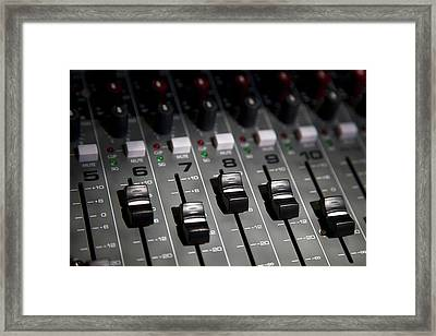 A Sound Mixing Board, Close-up, Full Frame Framed Print