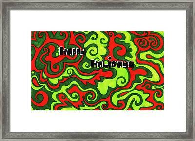 Abstract Happy Holidays Framed Print