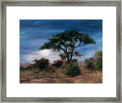 Framed Print featuring the painting African Moon by Brenda Thour