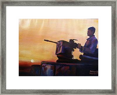 American Solder In Iraq Framed Print by Khatuna Buzzell