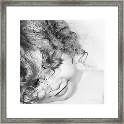 An Angels Smile - Black And White Framed Print by Kerri Ligatich