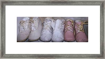 Antique Baby Shoes Framed Print by Linda Scharck