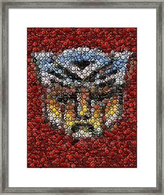 Autobot Transformer Bottle Cap Mosaic Framed Print by Paul Van Scott