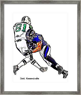 Baltimore Ravens  Ray Lewis - New York Jets Dustin Keller Framed Print by Jack K