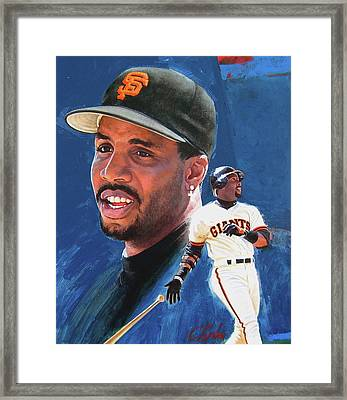 Barry Bonds In The Shadow Framed Print by Cliff Spohn