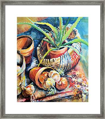 Framed Print featuring the painting Baskets by Linda Shackelford
