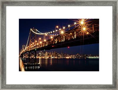 Bay Bridge In Front Of San Francisco Skyline Framed Print by Blue Hour Photography