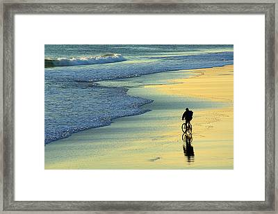 Beach Biker Framed Print