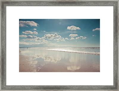 Beach With Cloud Reflections And Blue Sky Framed Print by Www.zoepower.co.uk