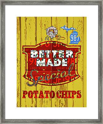 Better Made Potato Chips Michigan License Plate Art Framed Print by Design Turnpike